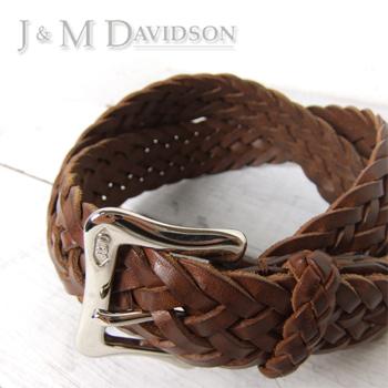 J&M デヴィッドソン| レザー編み込み メッシュベルト |美品 |買取査定